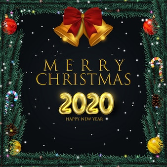 Realistic christmas frame with elements