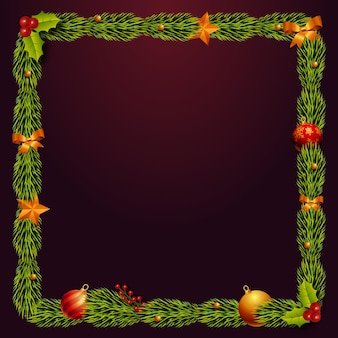 Реалистичная рождественская коллекция рамок и бордюров
