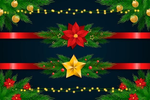 Confezione di cornici e bordi natalizi realistici