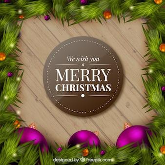 現実的なクリスマス花輪と背景をbubles