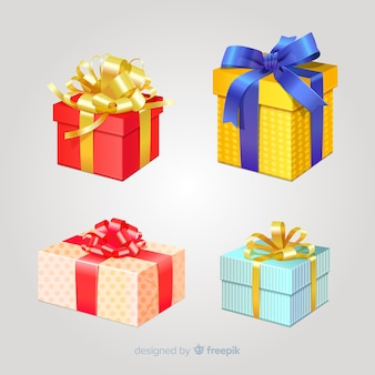 Realistic christmas gift box collection