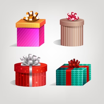 Realistic christmas gift collection