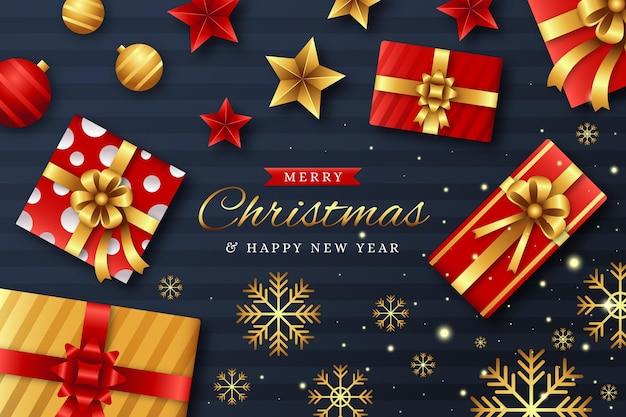 Реалистичные рождественские подарки фон
