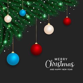 현실적인 크리스마스 녹색 분기 빨간색과 하늘색 공 크리스마스 조명 눈