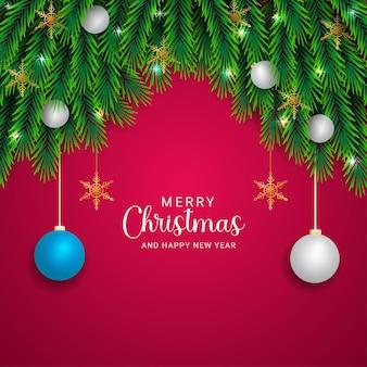 현실적인 크리스마스 녹색 잎 크리스마스 조명 흰색과 하늘색 공 황금 눈송이 분홍색 배경