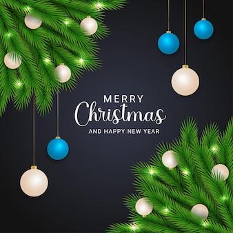 크리스마스 공 및 크리스마스 조명 검은 배경과 현실적인 크리스마스 녹색 잎