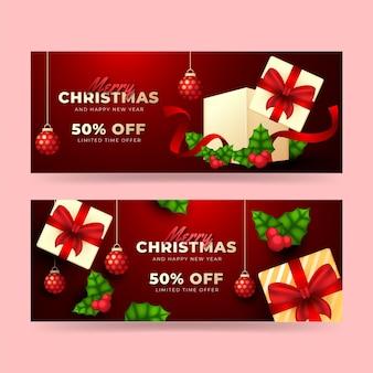 Реалистичные рождественские горизонтальные баннеры