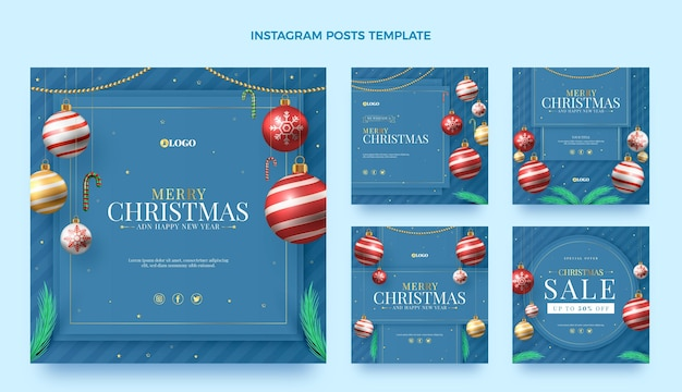Realistic christmas instagram posts collection