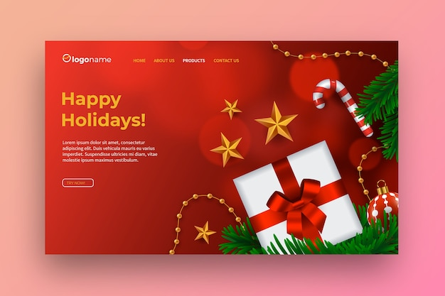Realistic christmas landing page template