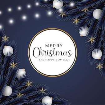 현실적인 크리스마스 잎 흰색 공 황금 눈송이 크리스마스 조명 황금 라운드 freme