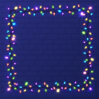 Realistic christmas light frame