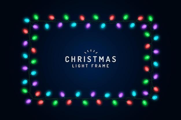 Realistic christmas light frame