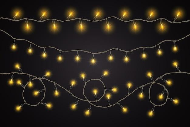 Realistic christmas lights collection