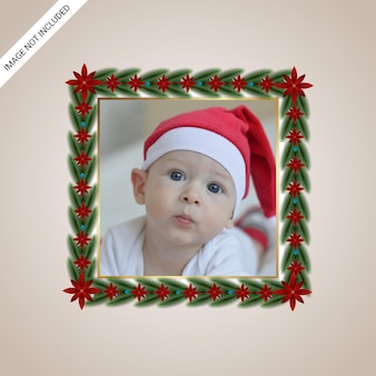 Realistic christmas minimal clasic photo frame green leaf red flowers with golden border