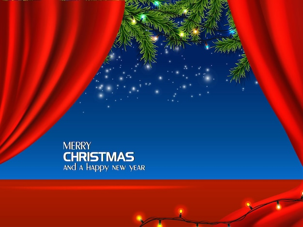 Realistic christmas and new year background card flyer greeting card postcard red background with blue dark sky with stars and fir tree