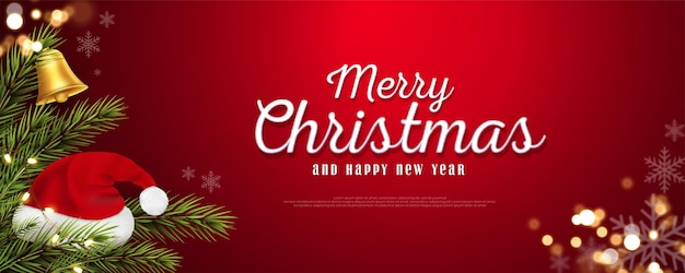 Realistic christmas and new year banner with branches on red background