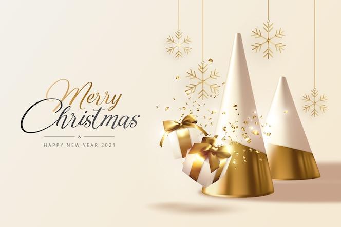 Realistico biglietto di auguri di natale e capodanno con alberi d'oro, regali e fiocchi di neve
