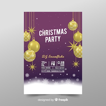 전단지 템플릿-현실적인 크리스마스 파티