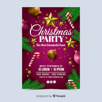 Realistic christmas party flyer template