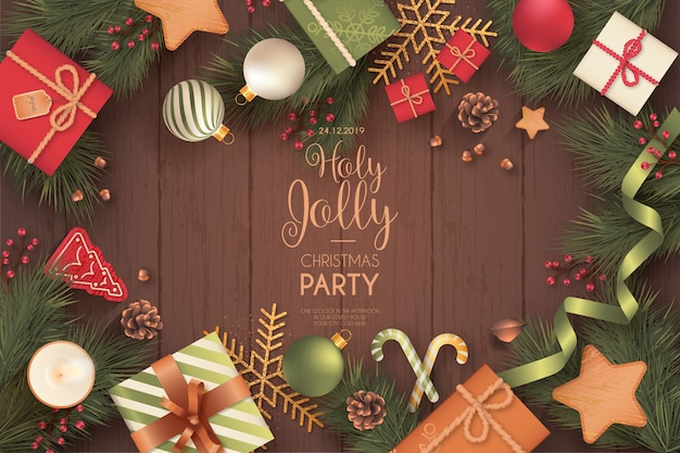 Realistic christmas party invitation card