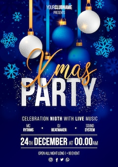 Realistic Christmas Party Poster Ready to Print