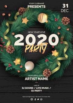 Realistic christmas party poster template with black wood