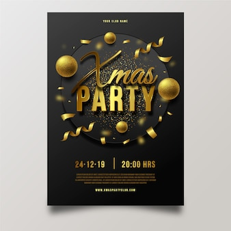 Realistic christmas party poster template