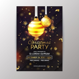 リアルなクリスマスパーティーポスターテンプレート