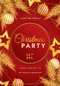 Realistic christmas party vertical poster template