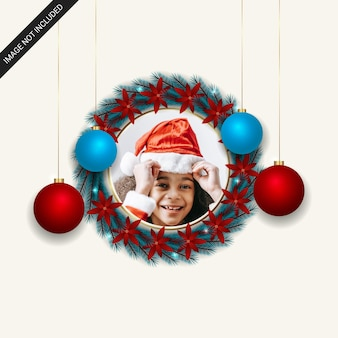 Realistic christmas photo frame with christmas leaf red flowers sky blue and red ball with golden round photo freme lights