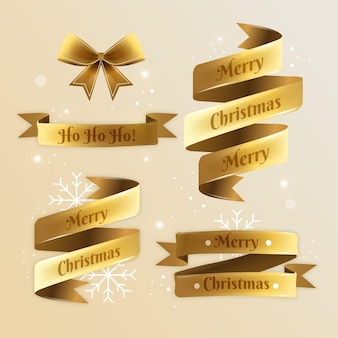 Realistic christmas ribbon collection