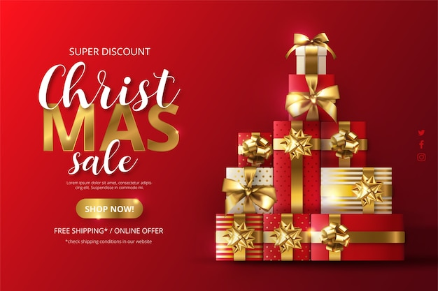 Realistic christmas sale background with tree made of presents