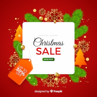 Realistic christmas sale background