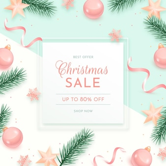 Realistic christmas sale banner in pastel colors