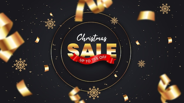 黒と金色の装飾が施されたリアルなクリスマスセールバナーテンプレート