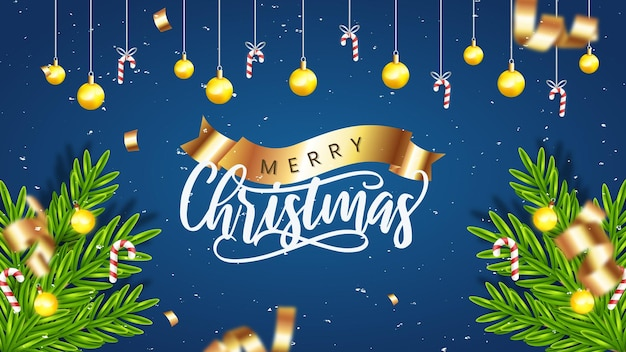 Реалистичный шаблон рождественской распродажи с синим и золотым украшением