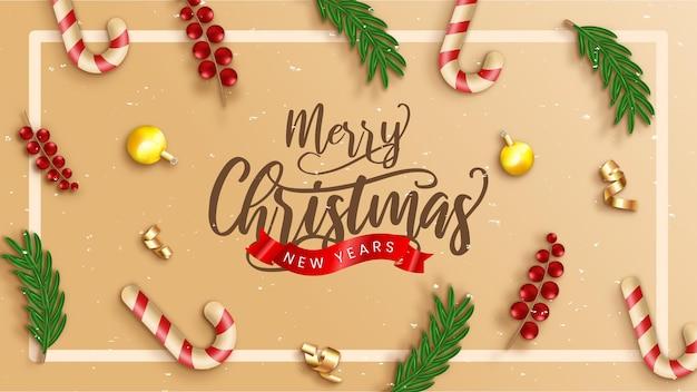 Реалистичный шаблон рождественской распродажи со сливками и украшениями