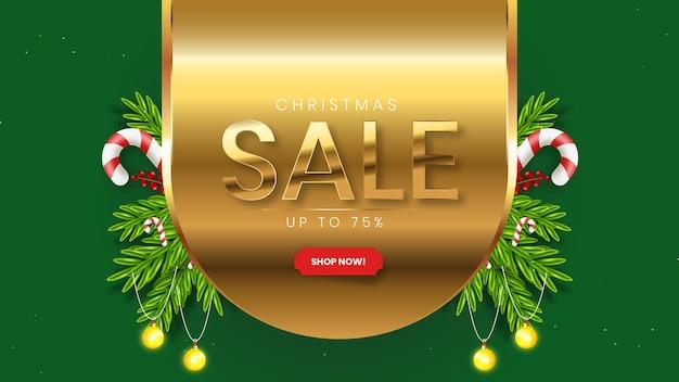 Реалистичный шаблон рождественской распродажи с зелеными и золотыми украшениями