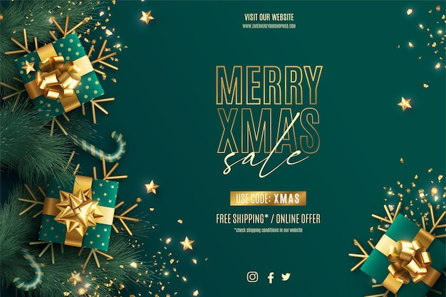 Realistic christmas sale banner template with green and golden decoration