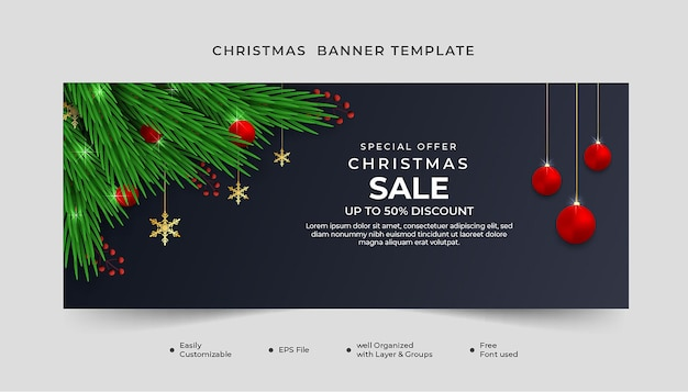 Realistic christmas sale banner template with green leaf and red ball