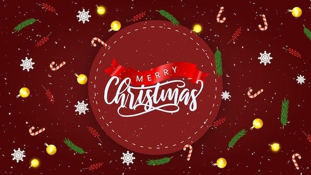 Реалистичный шаблон рождественской распродажи с красным и украшением