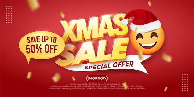 Realistic christmas sale banner template with red background
