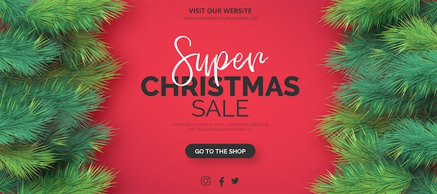 Realistic christmas sale banner template