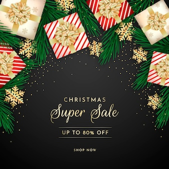 Realistic christmas sale banner with gifts