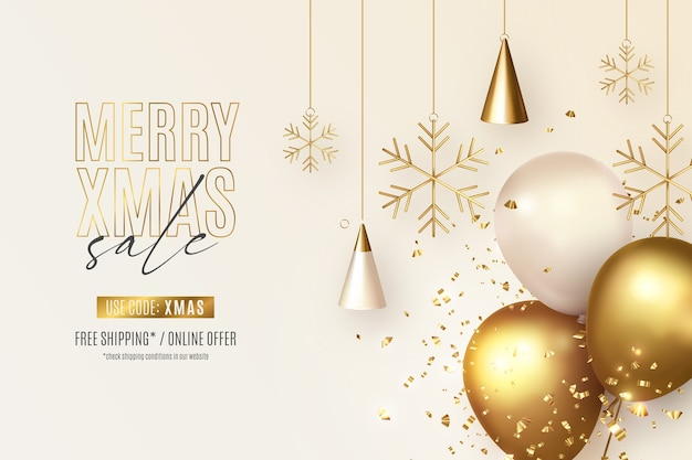 Реалистичная рождественская распродажа баннер с украшениями и воздушными шарами