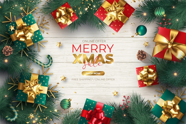 Реалистичная рождественская распродажа баннер с украшениями и подарками
