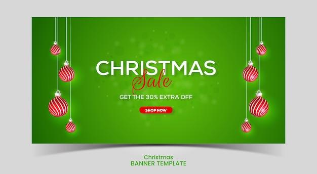 Realistic christmas sale banner with red christmas ball