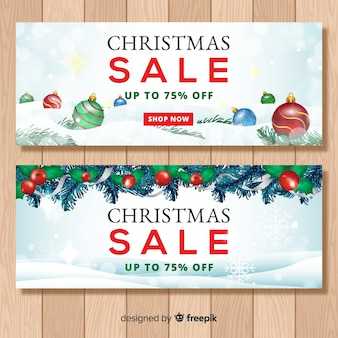 Realistic christmas sale banner