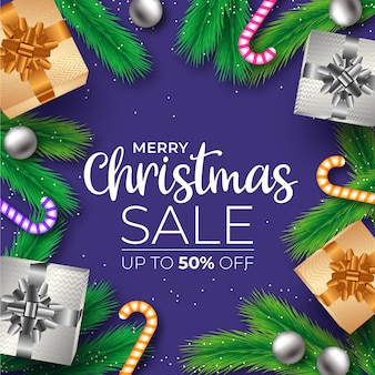 Realistic christmas sale banner