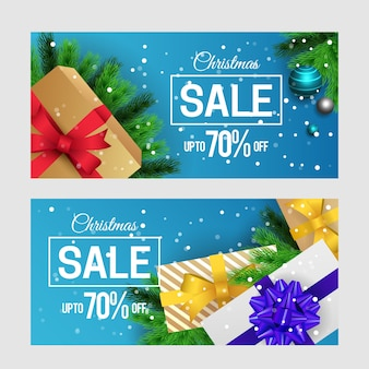 Realistic christmas sale banners collection